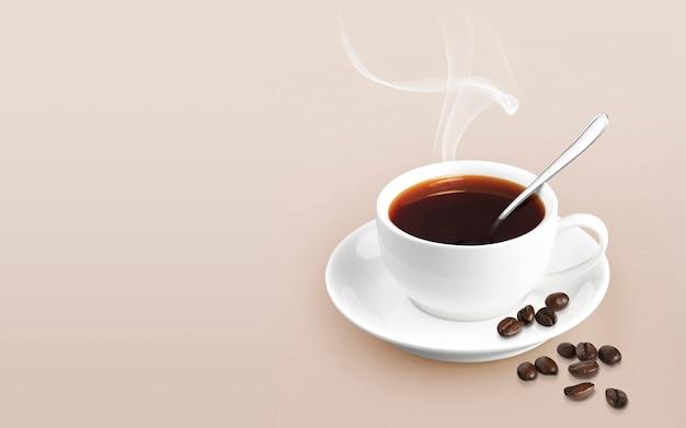 Xícara de café sobre fundo de cor sólida