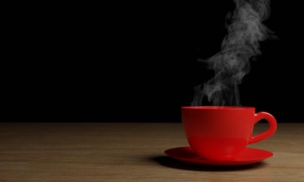 Xícara de café vermelha com fumaça em madeira de fundo preto escuro