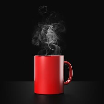 Xícara de café vermelha ou caneca vazia para beber em fundo escuro de fumaça