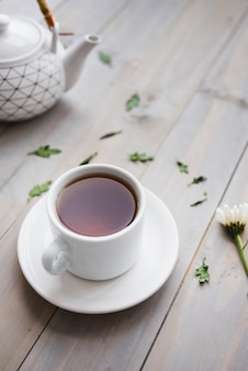 Xícara de chá com bule