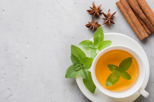 Xícara de chá com folhas de hortelã fresca e canela anis em um concreto cinzento