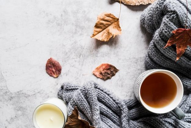 Xícara de chá e cachecol entre folhas