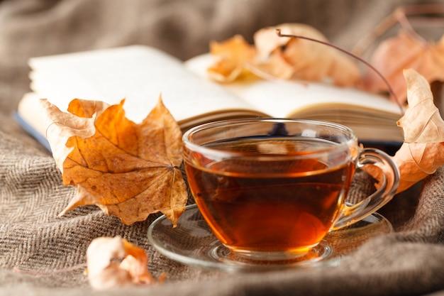 Xícara de chá e cobertor xadrez quente no banco rústico de madeira