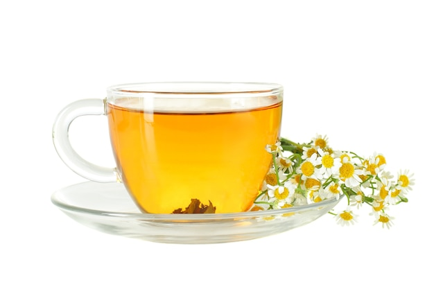 Xícara de chá e flores de camomila isoladas em branco