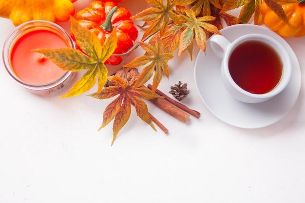 Xícara de chá, folhas de outono, vela, abóbora branca. colheita de outono. conceito de outono. vista do topo. copyspace