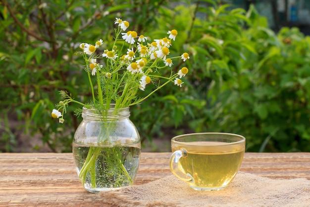 Xícara de chá verde e jarra de vidro com flores de camomila branca em placas de madeira com fundo verde natural.