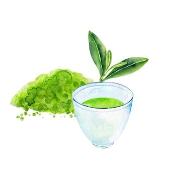 Xícara de chá verde e pó matcha isolado