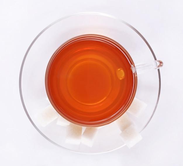 Xícara de chá, vista de cima