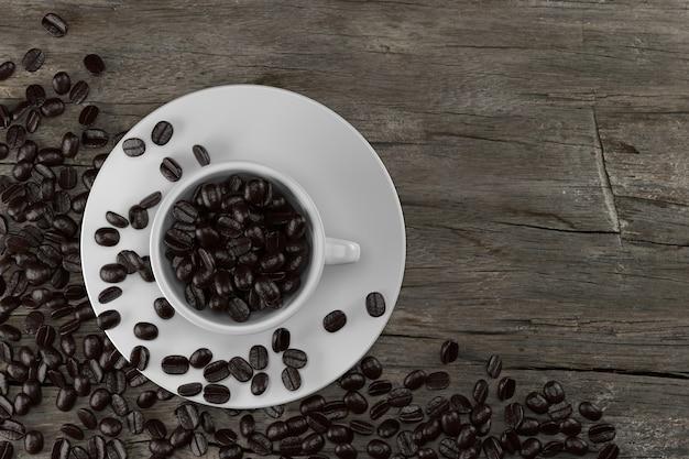 Xícara e grãos de café em renderização 3d de madeira.