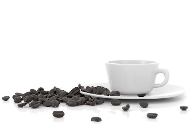 Xícara e grãos de café, renderização em 3d.