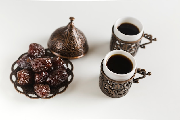 Xícaras de café com datas em pires