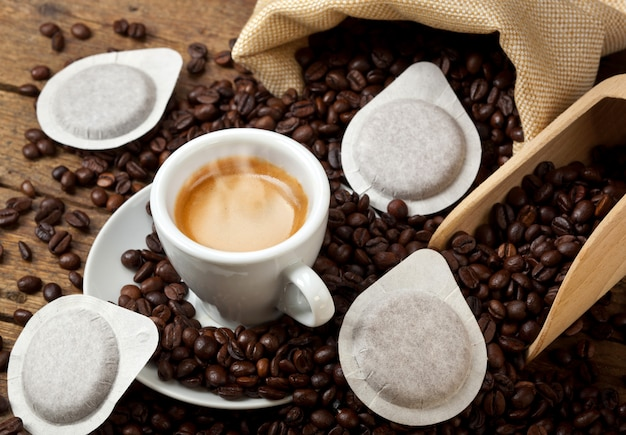 Xícaras de café com vagens