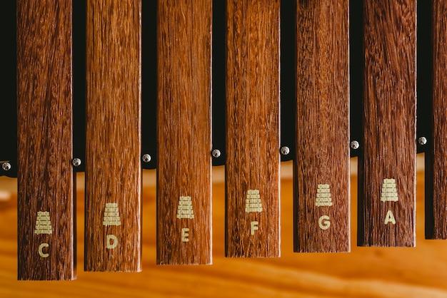 Xilofone de madeira em uma sala de aula de música