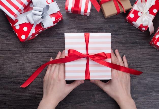 Xmas, caixa, surpresa, ano, papel
