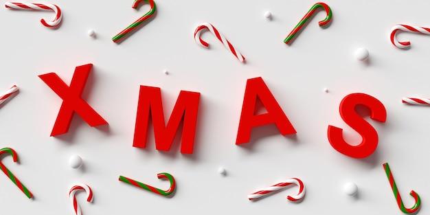 Xmas com letras vermelhas e renderização em 3d