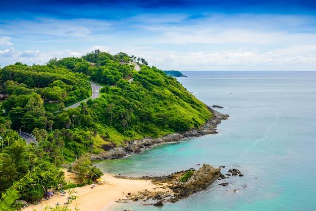 Yanui praia do ponto de vista do pôr do sol, phuket, tailândia