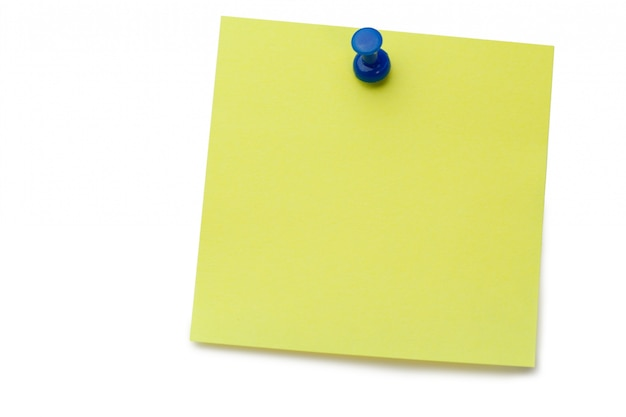 Yellow post-it com pino de desenho