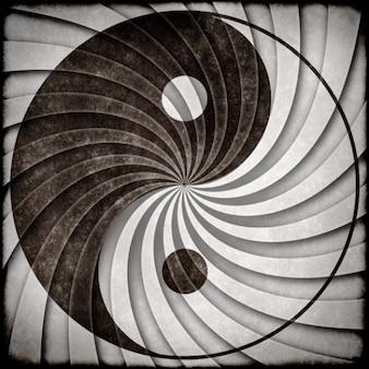 Yin yang símbolo do grunge