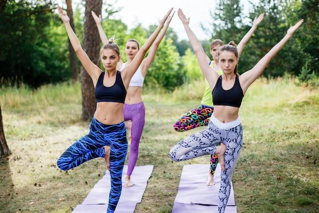 Yoga, fitness, esporte e conceito de estilo de vida saudável - grupo de pessoas em pose de árvore na esteira ao ar livre no parque