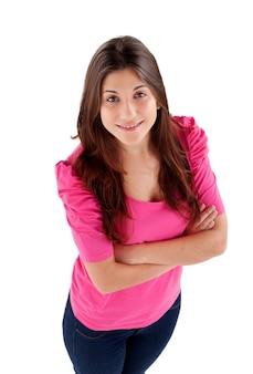 Youg, menina, com, cor-de-rosa, vista t-shirt, de cima