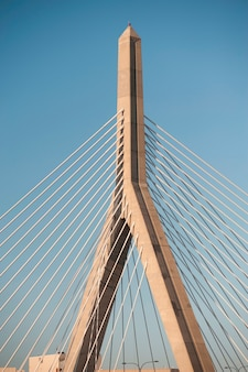 Zakim bumnker hill bridge em boston, massachusetts, eua