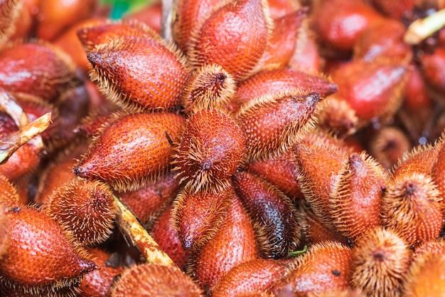 Zalacca ou fruta de cobra, sabores de frutas doces sazonais tradicionais da tailândia