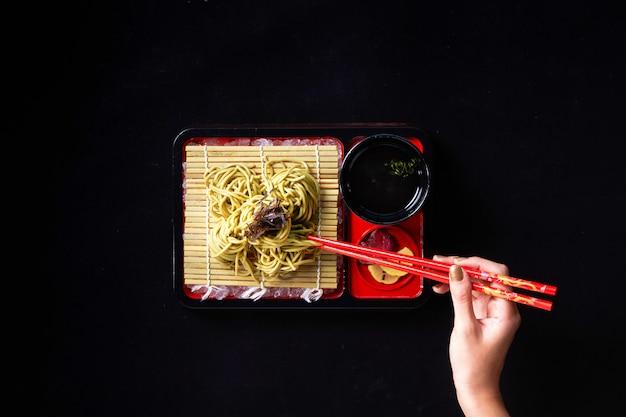 Zaru cha soba com tempura