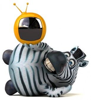 Zebra divertida com tv retrô