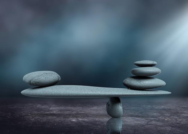 Zen como conceito de equilíbrio de pedra