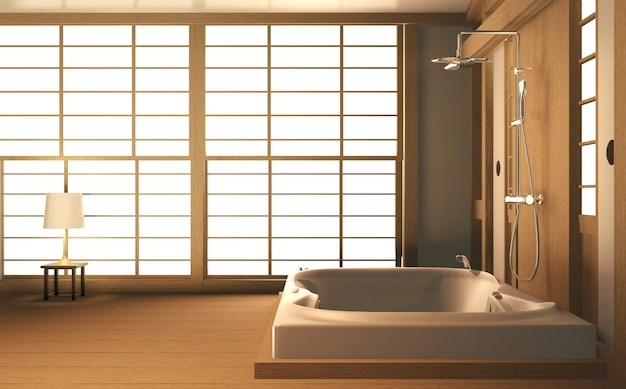 Zen design banheiro parede de madeira e piso - estilo japonês. renderização em 3d