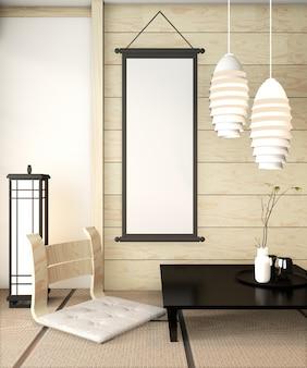 Zen quarto interior de madeira da parede no tatame tapete com moldura de cartaz, mesa baixa e poltrona. renderização em 3d