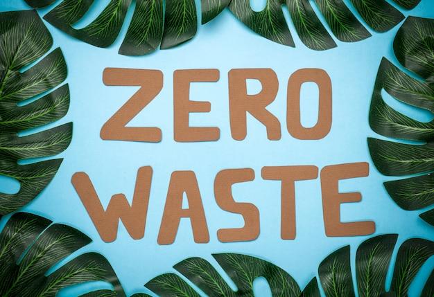 Zero inscrição de resíduos em um fundo azul