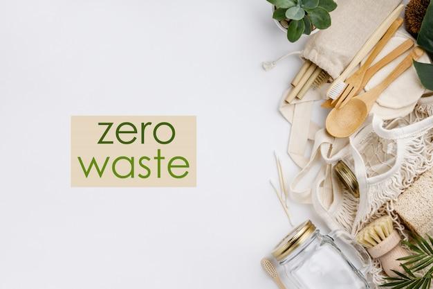 Zero resíduos, reciclagem, conceito de estilo de vida sustentável, configuração plana