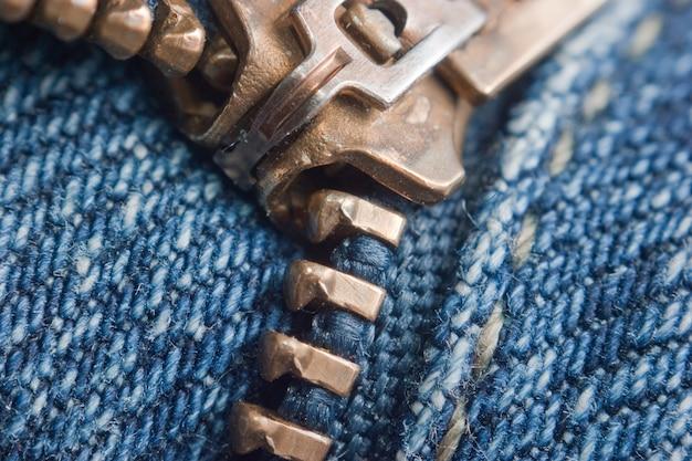 Zíper de bloqueio em jeans, macro