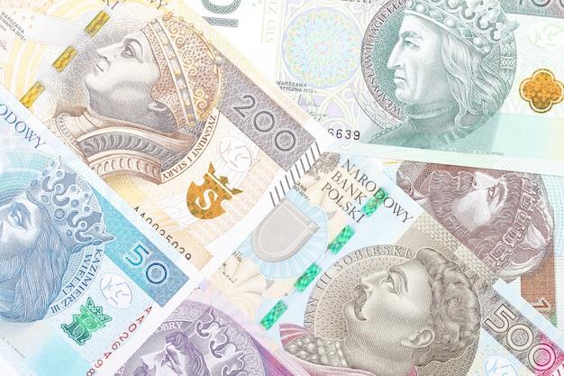 Zloty polonês, um fundo de negócios com notas