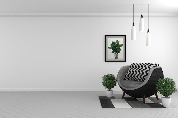 Zombaria da parede interior da sala acima com sofá e plantas da tela no fundo branco. renderização 3d.