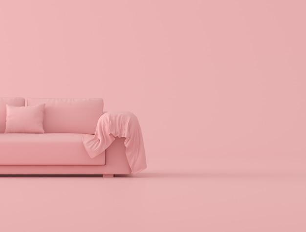 Zombe acima do sofá cor-de-rosa e da folha enrugada de pano no fundo cor-de-rosa, estilo mínimo do conceito, rendição 3d.