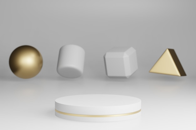 Zombe de estúdio com formas cilíndricas em mármore, pódio, plataformas para apresentação do produto, com decoração de objetos de ouro sobre fundo cinza. renderização em 3d