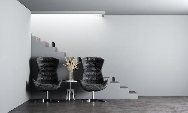 Zombe de poltronas, escada e porta branca em um fundo interior moderno