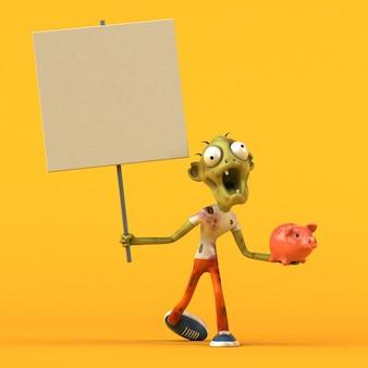 Zombie divertido - ilustração 3d Foto Premium