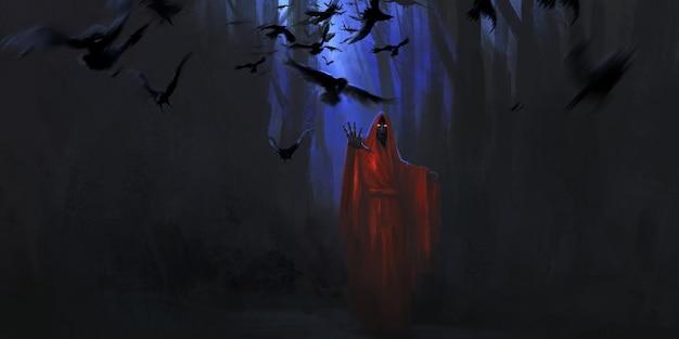 Zombie na ilustração de manto vermelho.