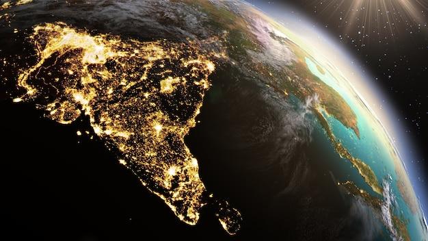 Zona do planeta terra ásia. elementos desta imagem fornecidos pela nasa