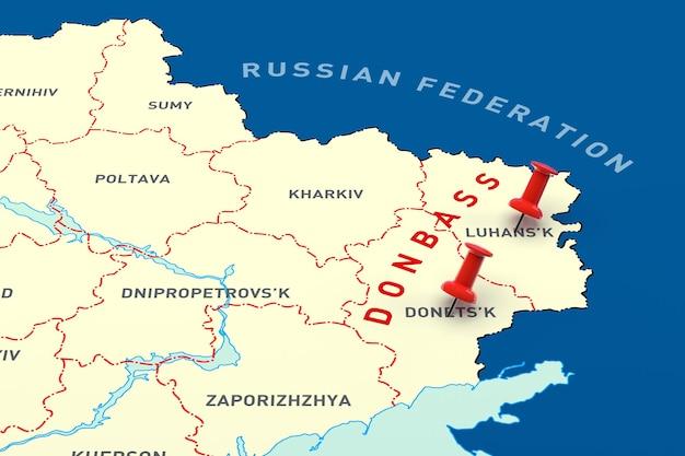 Zonas quentes marcadas no mapa da ucrânia. renderização 3d