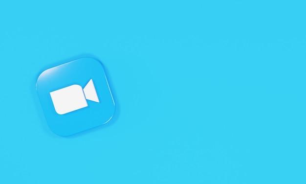 Zoom do logotipo do ícone de renderização 3d