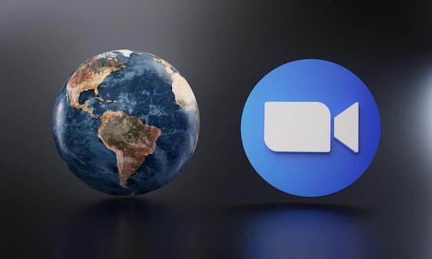 Zoom logo beside earth 3d rendering.