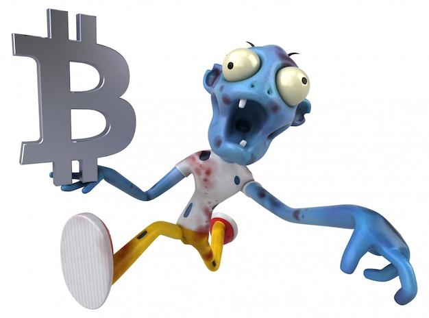 Zumbi e bitcoin - ilustração 3d
