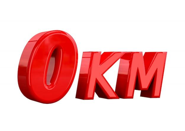 0-kilometer-schriftzug auf weißem hintergrund