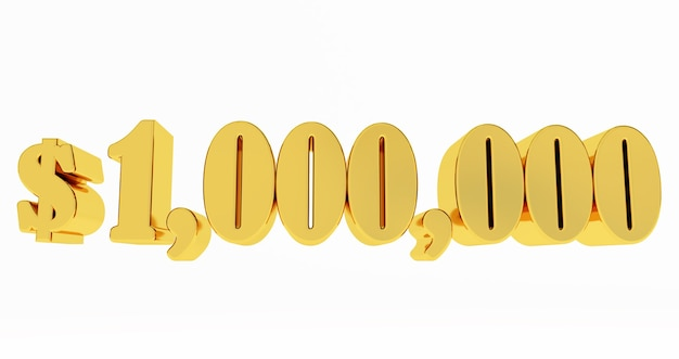 1.000.000 $ eine million dollar. goldene 1000000 $ isoliert auf weißem hintergrund,