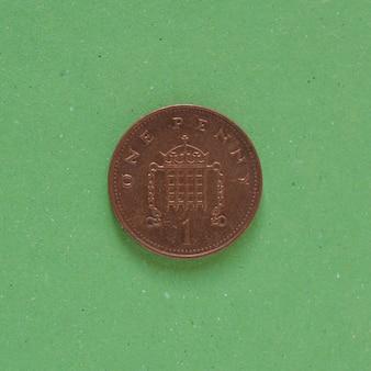 1-penny-münze, vereinigtes königreich über grün