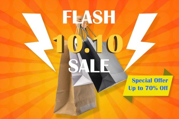 10. oktober oder 10.10 flash-verkaufsplakat für die idee der einkaufsförderung.